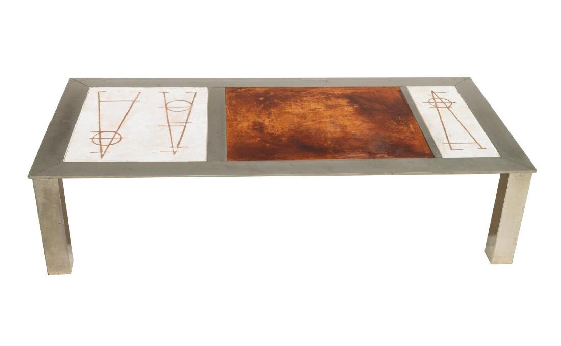 FRENCH INDUSTRIAL MODERN LOW SOFA TABLE - 3
