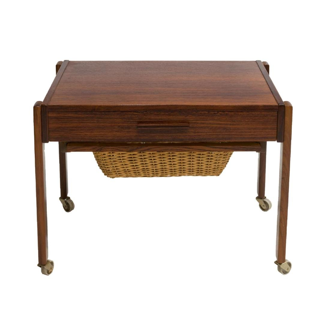 DANISH MID-CENTURY MODERN ROSEWOOD SEWING TABLE - 2