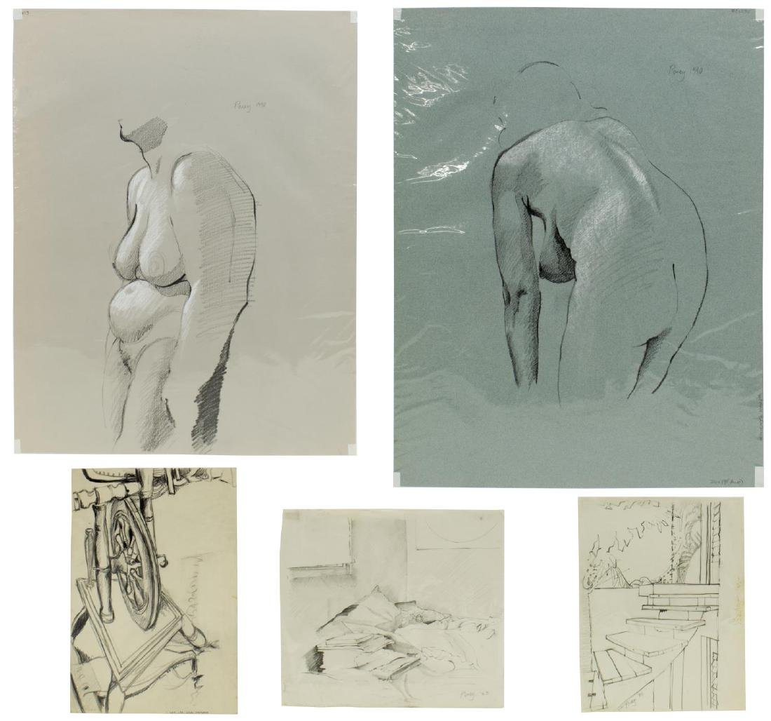 (5) EDWARD POVEY (B.1951) NUDE DRAWINGS ON PAPER