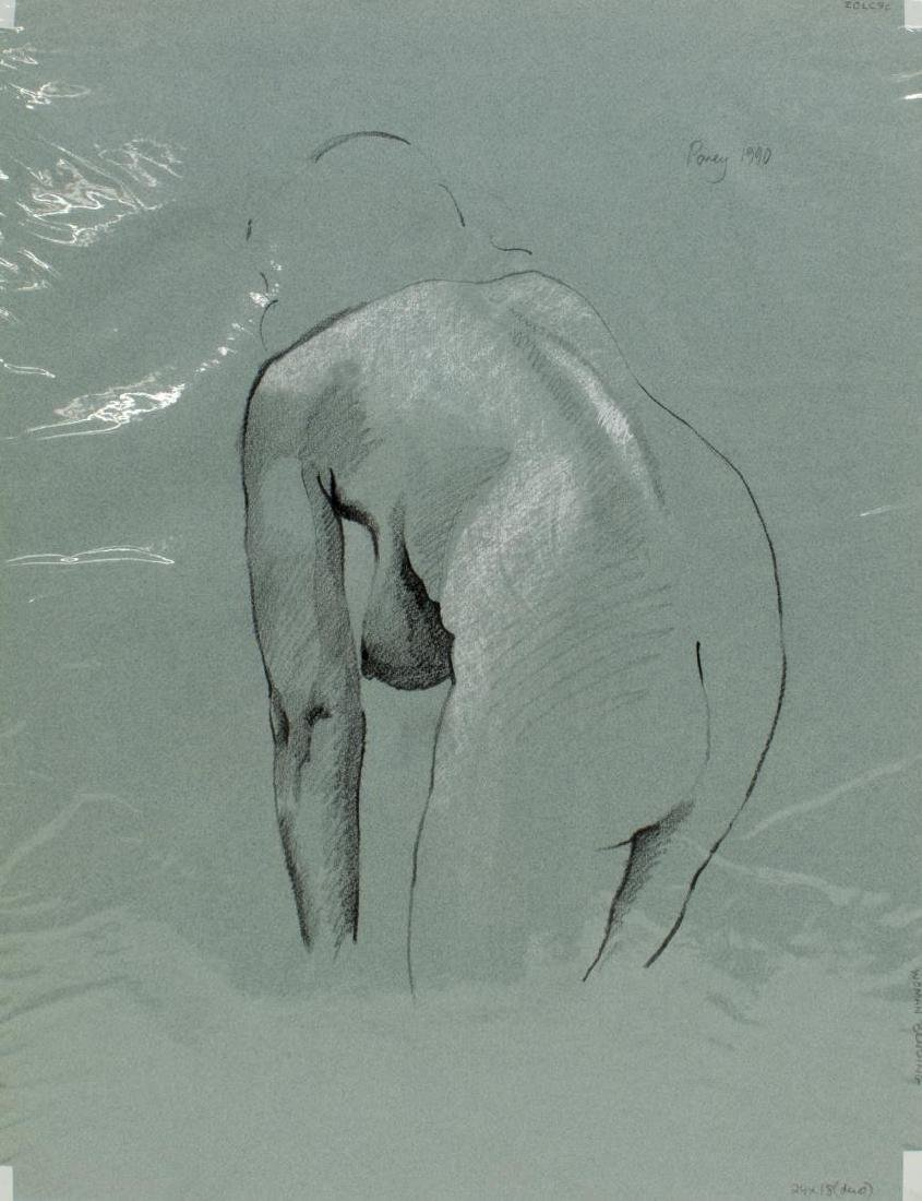 (5) EDWARD POVEY (B.1951) NUDE DRAWINGS ON PAPER - 3