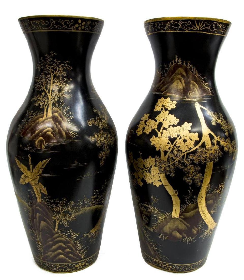 (2) CHINESE PAPER MACHE GILT BLACK LACQUER VASES