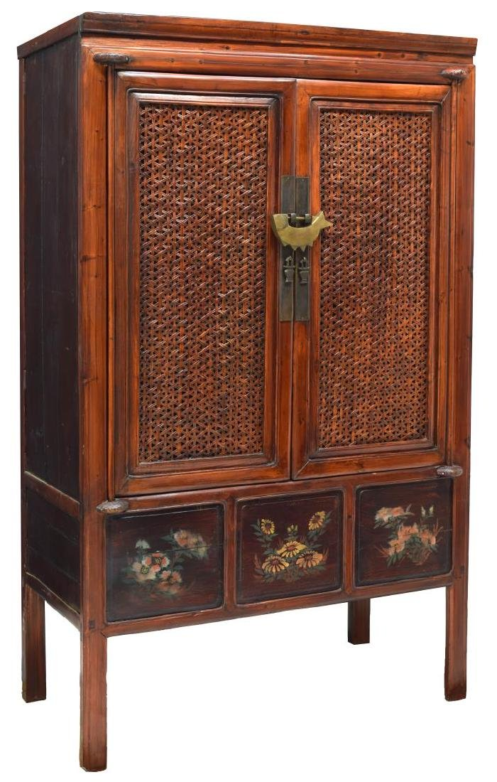 CHINESE ELMWOOD WOVEN CANE CABINET
