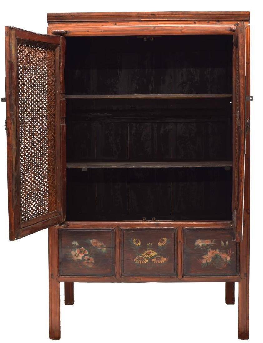 CHINESE ELMWOOD WOVEN CANE CABINET - 2