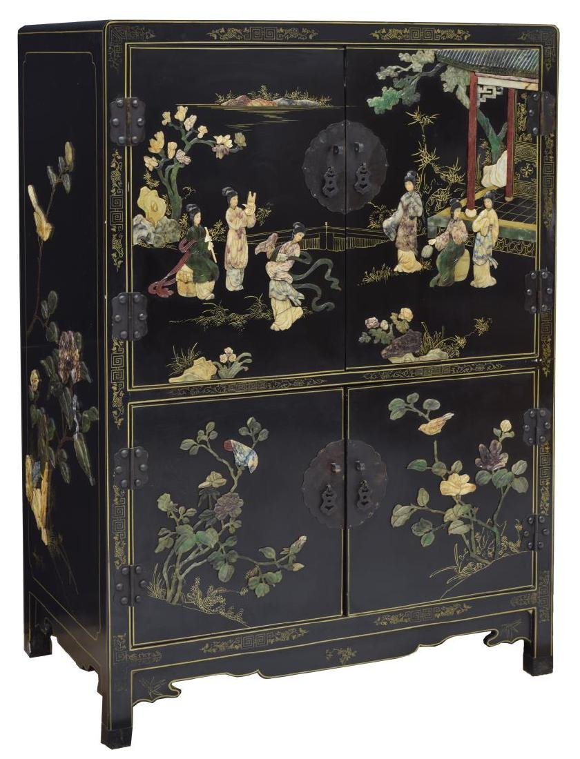CHINESE BLACK LACQUER & PARCEL GILT CABINET