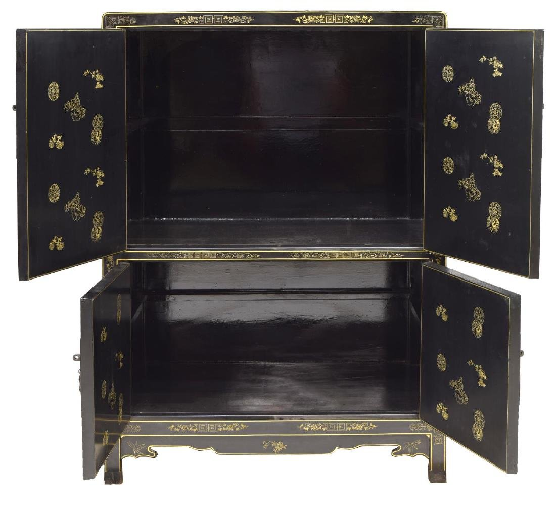 CHINESE BLACK LACQUER & PARCEL GILT CABINET - 2