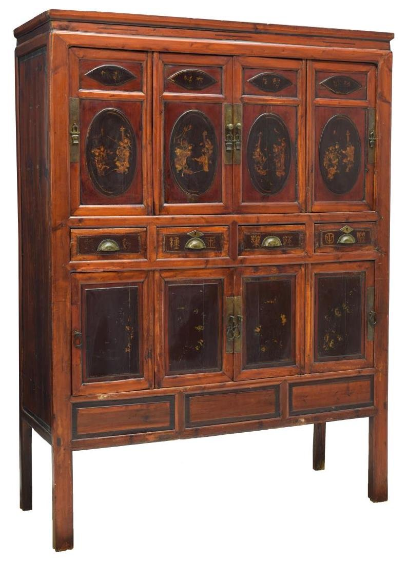 CHINESE ELMWOOD PAINTED FIGURAL CABINET