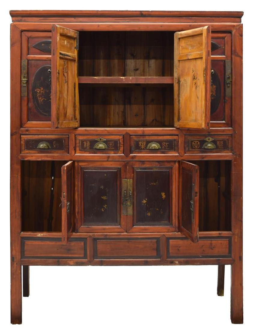 CHINESE ELMWOOD PAINTED FIGURAL CABINET - 2