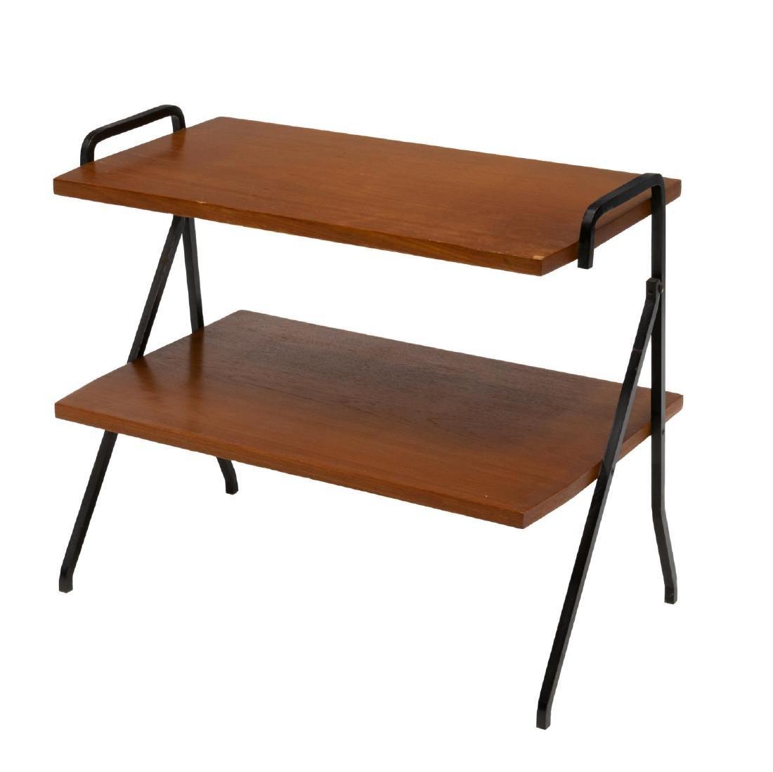 ITALIAN MID-CENTURY TEAK & IRON 2-TIER SIDE TABLE