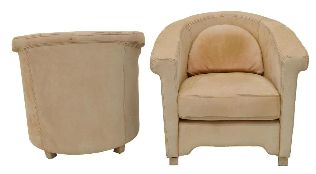 (PAIR) FRENCH LEATHER UPHOLSTERED CLUB CHAIRS - 2