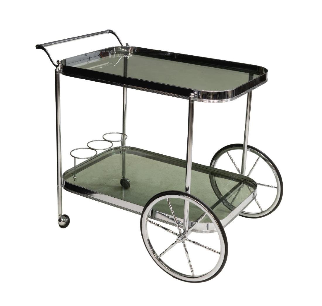 FRENCH MODERN CHROMED STEEL & GLASS SERVICE CART