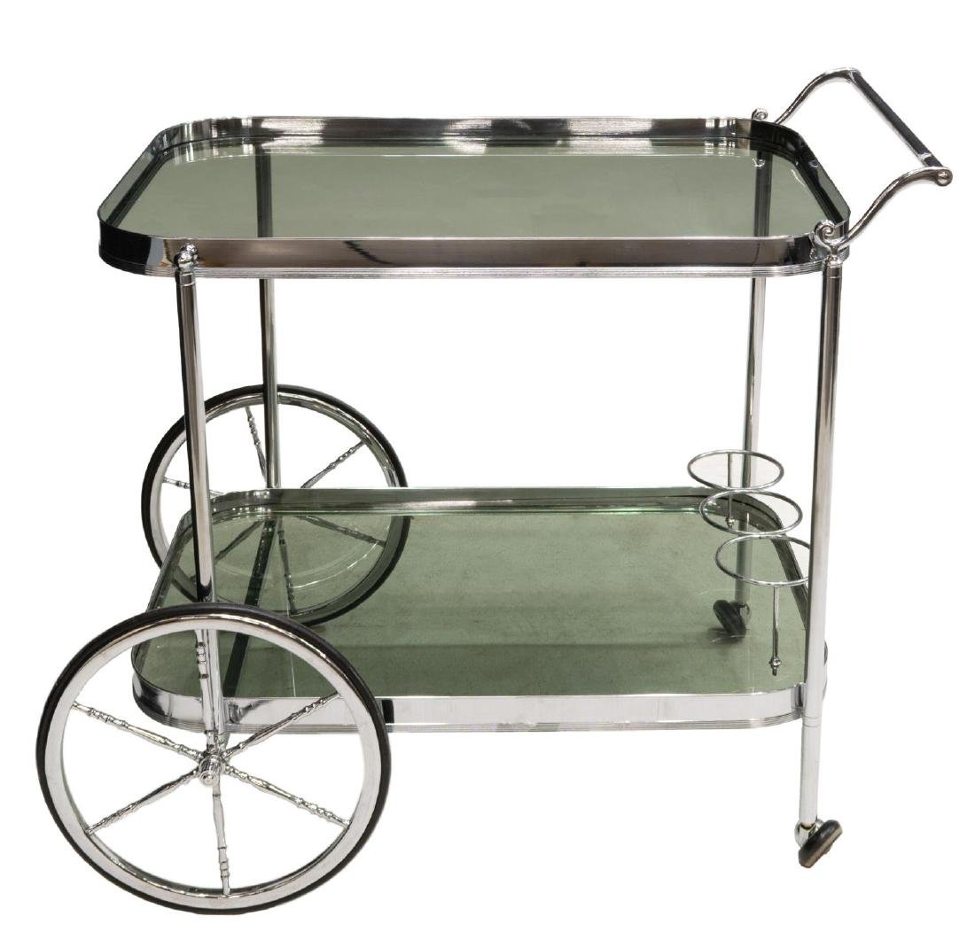 FRENCH MODERN CHROMED STEEL & GLASS SERVICE CART - 2