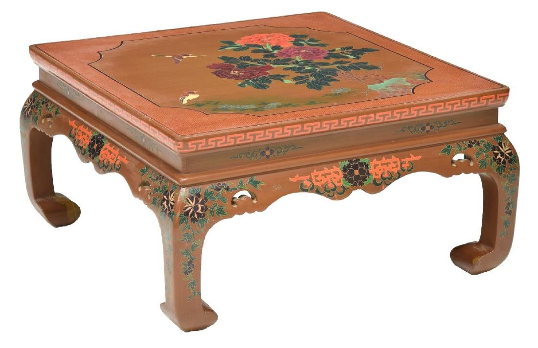 CHINESE BROWN LACQUER PAINTED SQUARE SOFA TABLE