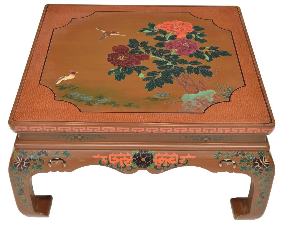 CHINESE BROWN LACQUER PAINTED SQUARE SOFA TABLE - 2