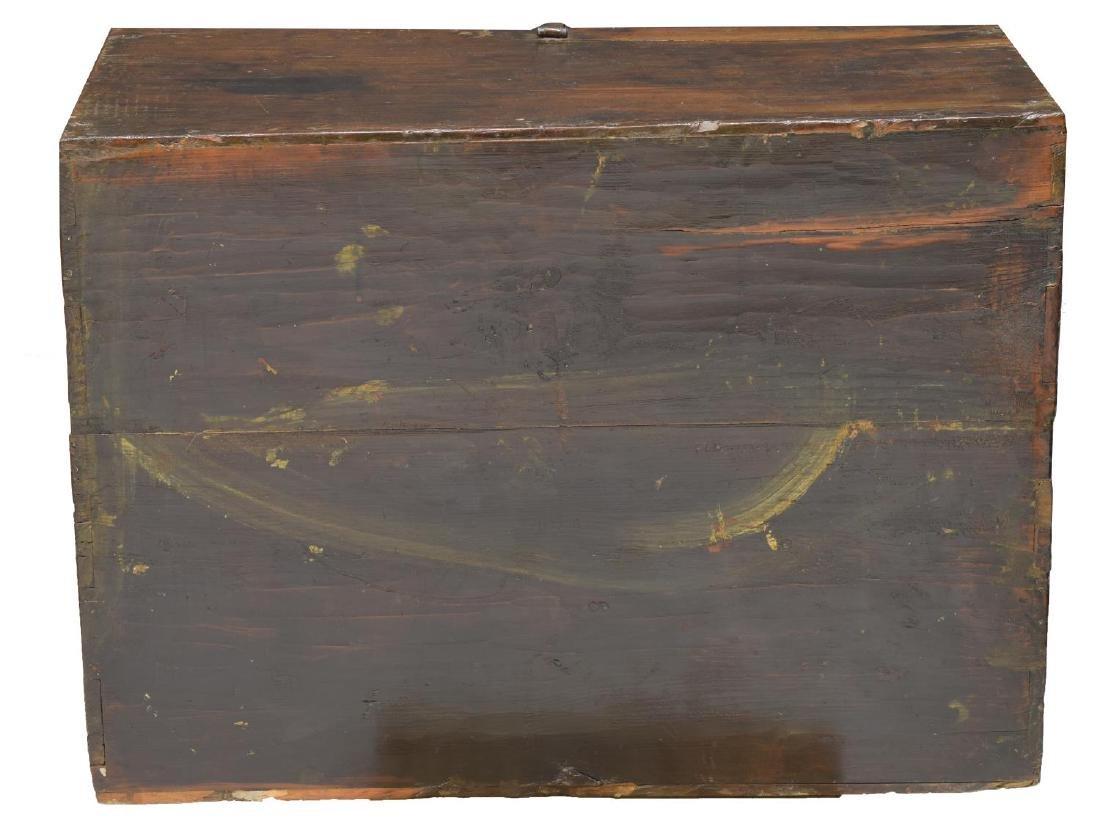 ANTIQUE ASIAN WOOD IRON MOUNT TANSU CHEST - 3