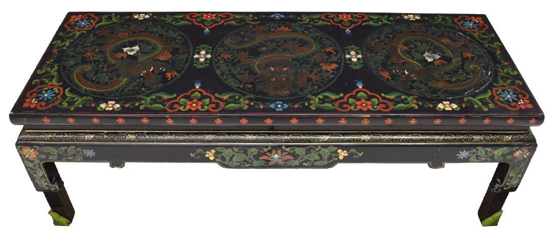 BLACK LACQUER PAINTED DRAGON SOFA TABLE, CHINESE - 2