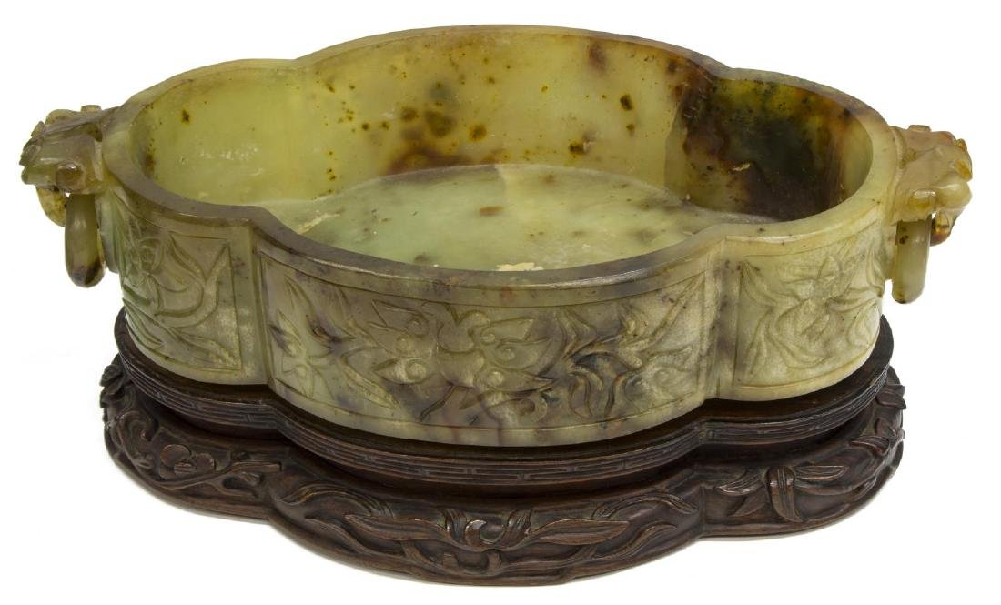 (2) CHINESE GREEN HARDSTONE BOWL & HARDSTONE TREE - 3