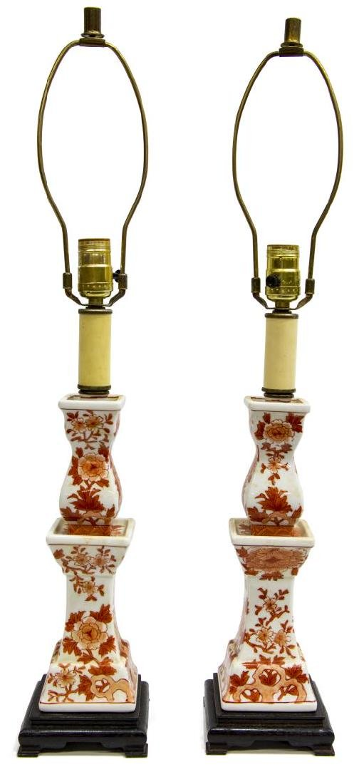 (2) CHINESE PORCELAIN CANDLESTICK TABLE LAMPS