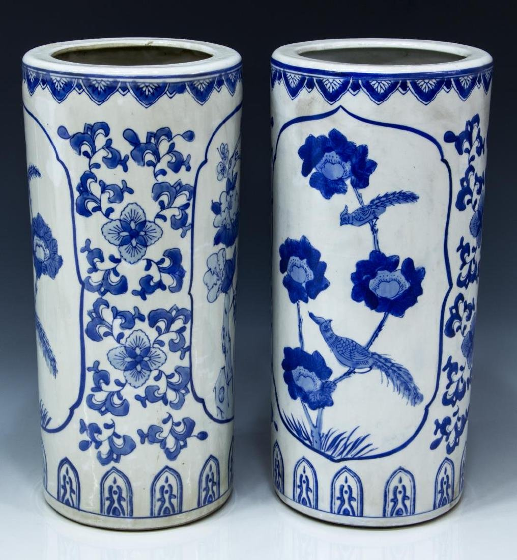 (2) CHINESE BLUE AND WHITE PORCELAIN HAT STANDS