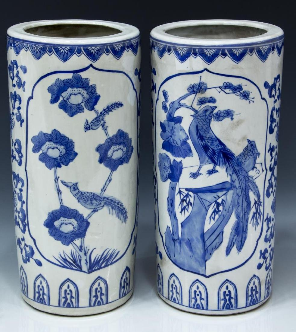 (2) CHINESE BLUE AND WHITE PORCELAIN HAT STANDS - 2