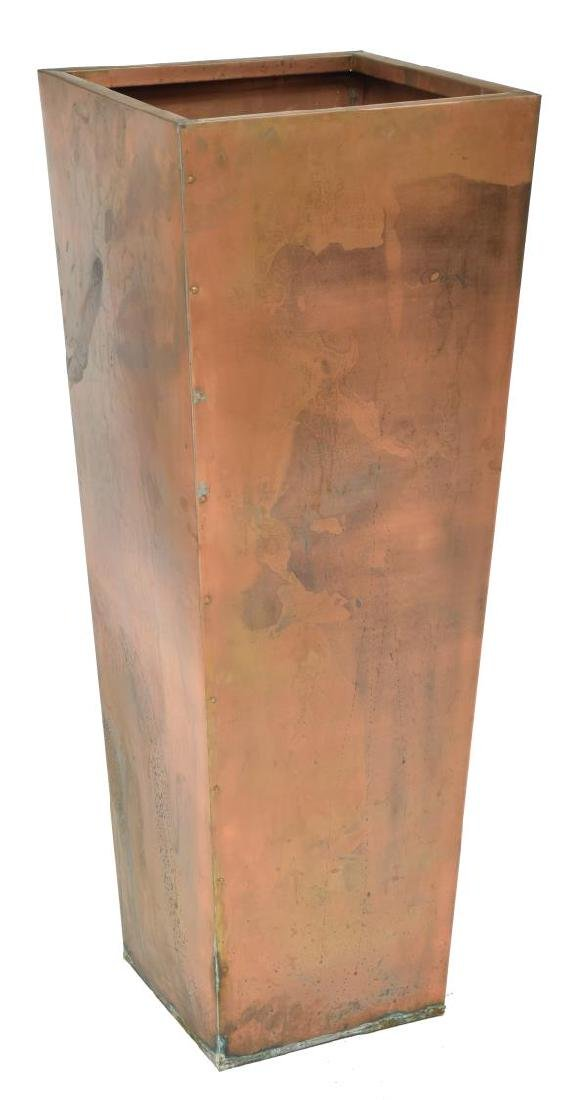 LARGE STANDING COPPER PLANTER OF TAPERED FORM