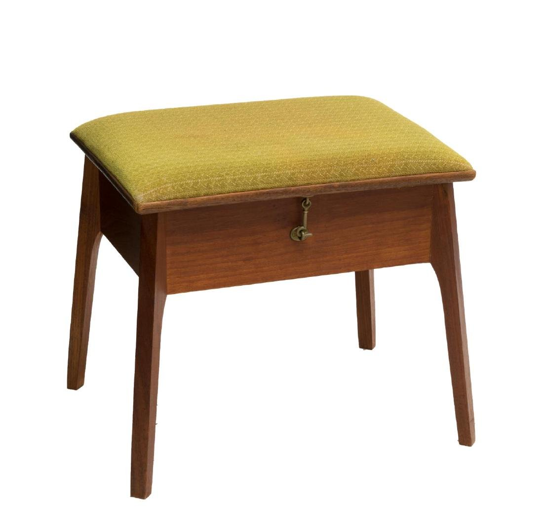 DANISH MID-CENTURY HINGED TOP TEAKWOOD STOOL