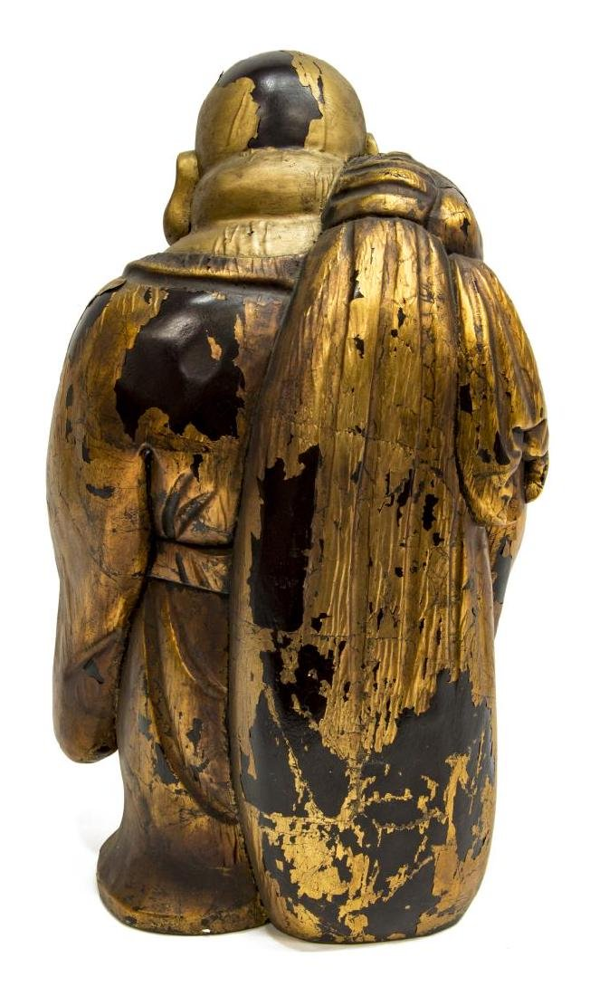 ANTIQUE CHINESE GILT CARVED WOOD HOTEI BUDDHA - 4