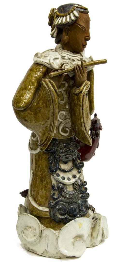 CHINESE CERAMIC WOMAN PLAYING FLUTE WITH PHOENIX