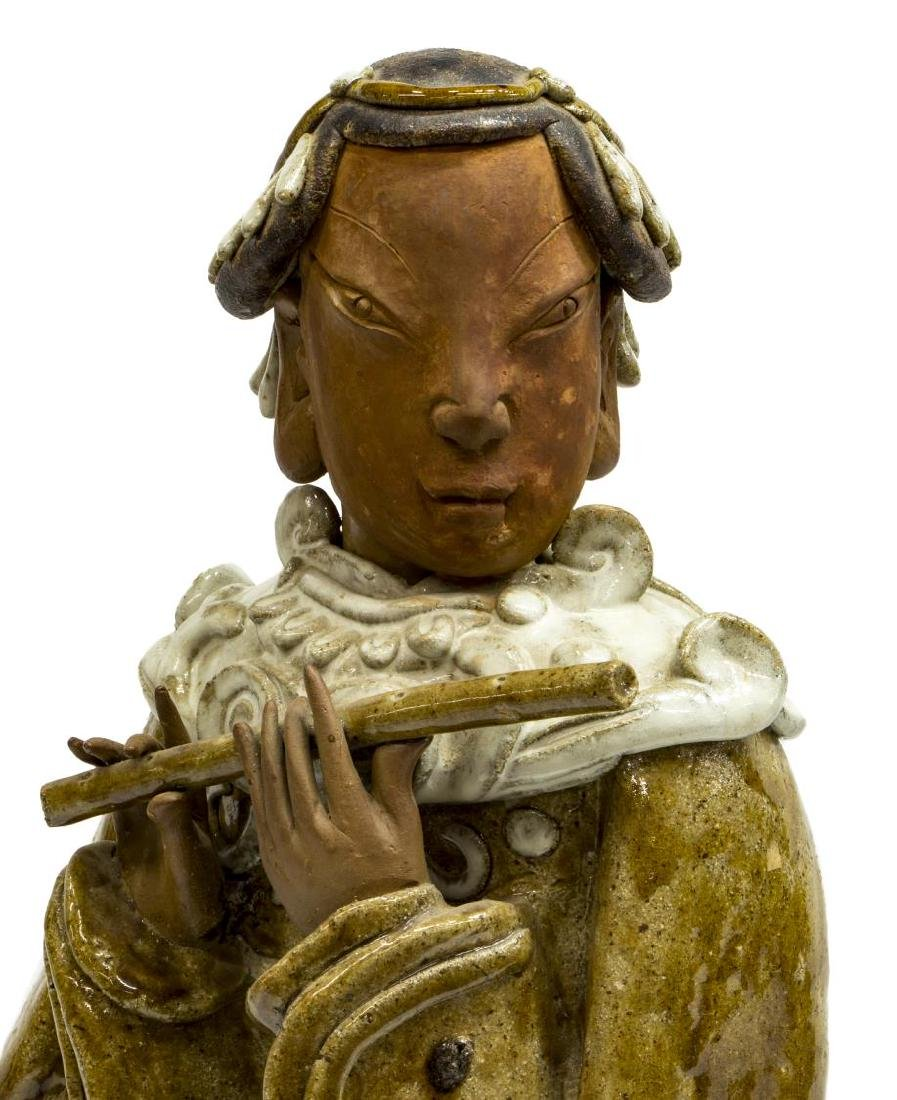 CHINESE CERAMIC WOMAN PLAYING FLUTE WITH PHOENIX - 3