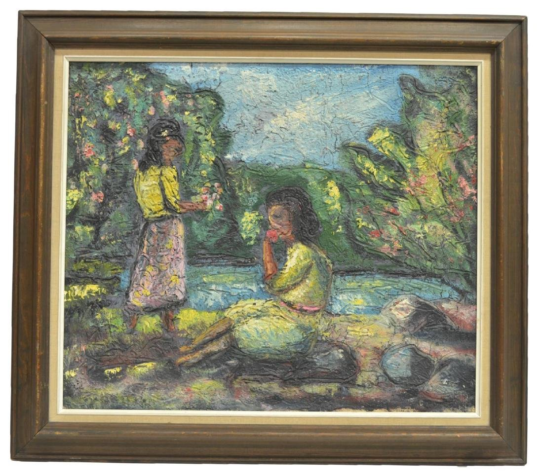 FRAMED MODERN IMPASTO OIL ON CANVAS PAINTING