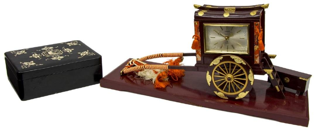 (2) RICKSHAW BATTERY OPERATED CLOCK, LACQUERED BOX