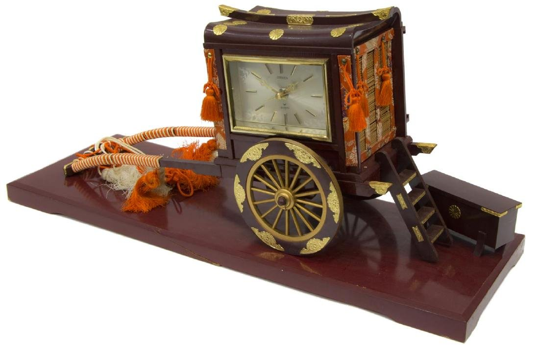 (2) RICKSHAW BATTERY OPERATED CLOCK, LACQUERED BOX - 2