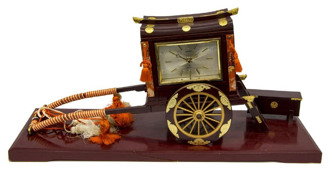 (2) RICKSHAW BATTERY OPERATED CLOCK, LACQUERED BOX - 4