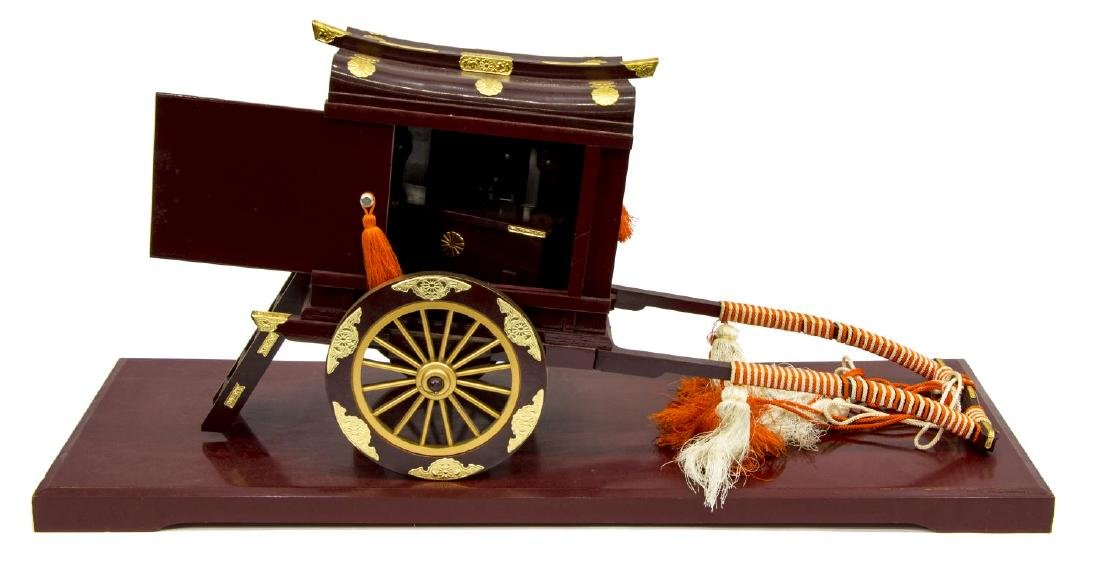 (2) RICKSHAW BATTERY OPERATED CLOCK, LACQUERED BOX - 5