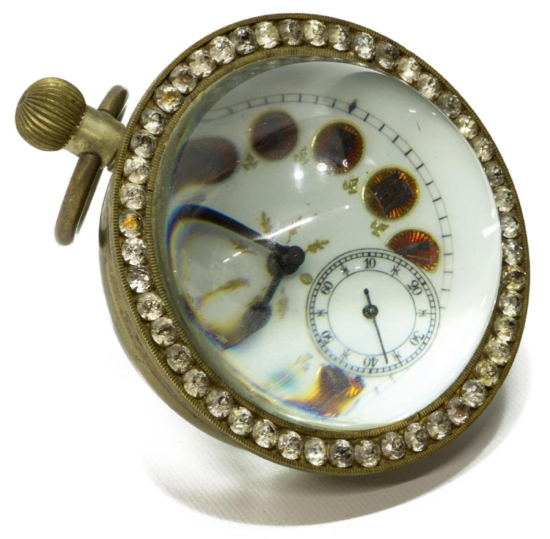 FRENCH GLASS-CASED PAPERWEIGHT JEWELED DESK CLOCK
