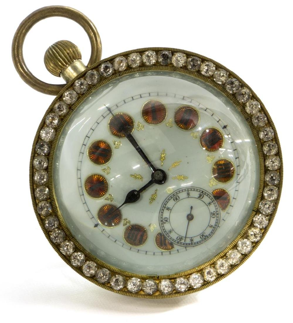 FRENCH GLASS-CASED PAPERWEIGHT JEWELED DESK CLOCK - 2