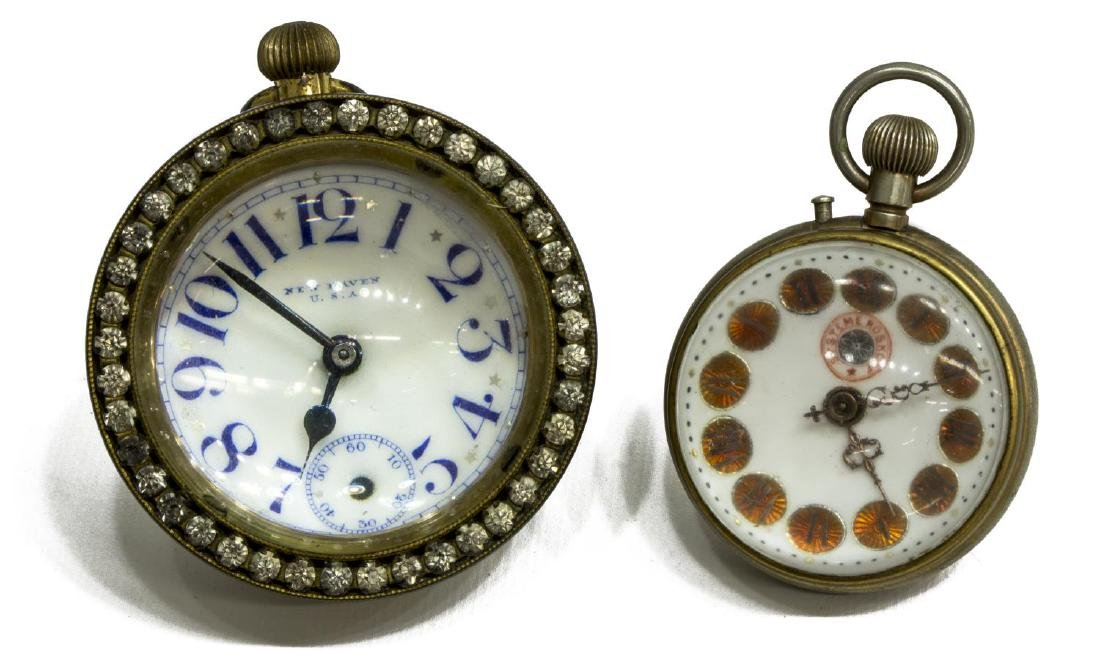 (2) GLASS-CASED PAPERWEIGHT DESK CLOCKS, JEWELED