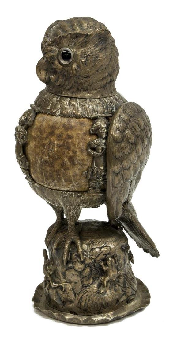GERMAN HANAU 812 SILVER OWL COCONUT SHELL BEAKER - 2