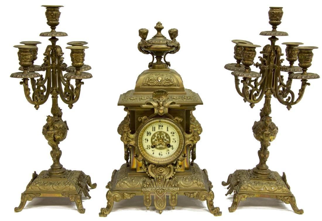 (3) FRENCH MANTEL CLOCK & CANDLE GARNITURE SET