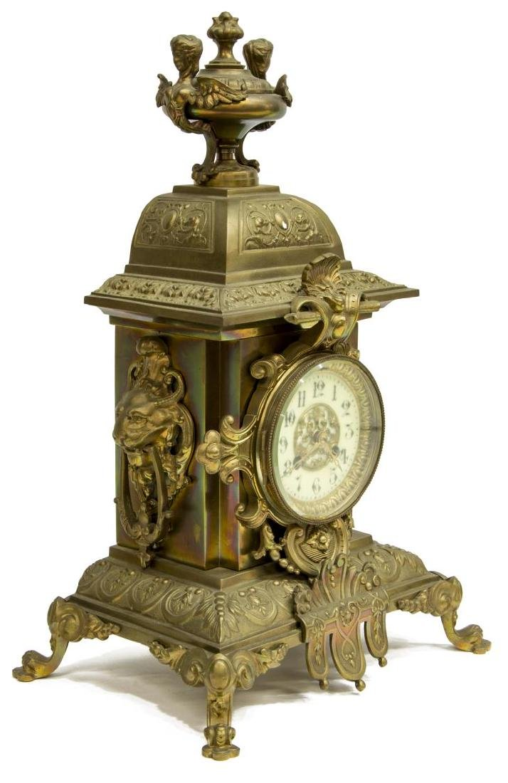 (3) FRENCH MANTEL CLOCK & CANDLE GARNITURE SET - 2