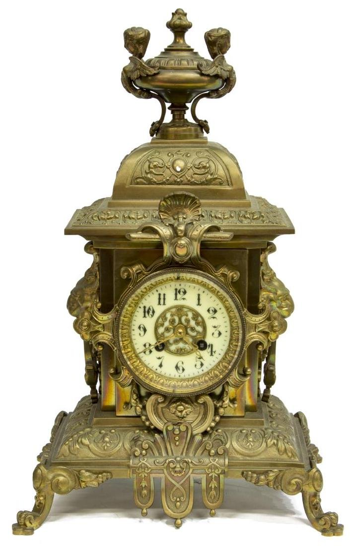 (3) FRENCH MANTEL CLOCK & CANDLE GARNITURE SET - 3