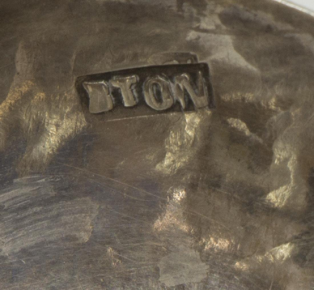 COLONIAL STYLE ENGRAVED & LOBED SILVER DISH - 4