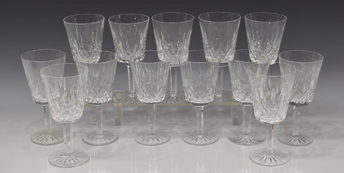 (13) WATERFORD 'LISMORE' CUT CRYSTAL WATER GOBLETS