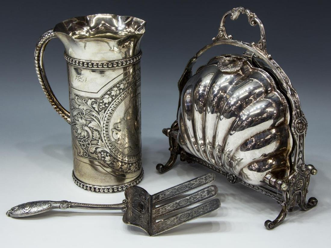(3) SILVERPLATE TABLEWARE, BISCUIT WARMER, PITCHER