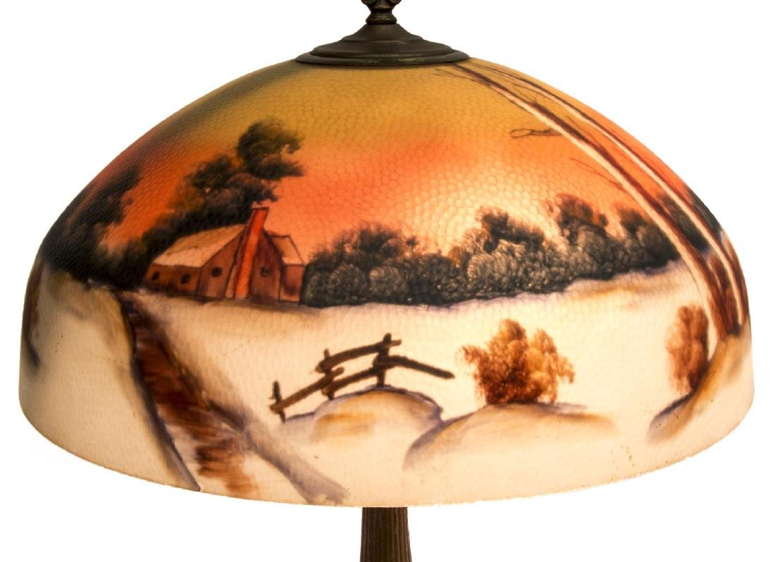REVERSE PAINTED WINTER LANDSCAPE 2 LT TABLE LAMP