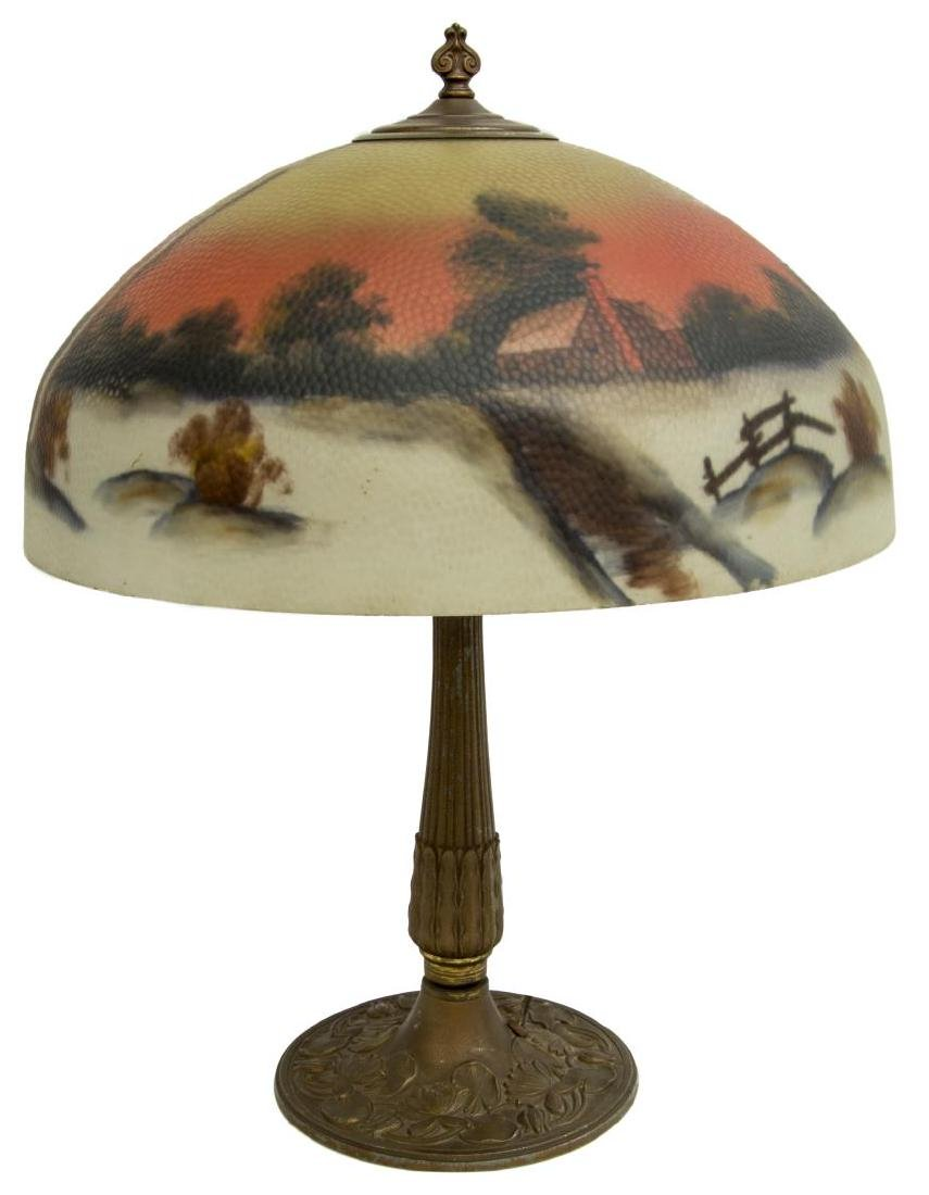 REVERSE PAINTED WINTER LANDSCAPE 2 LT TABLE LAMP - 2