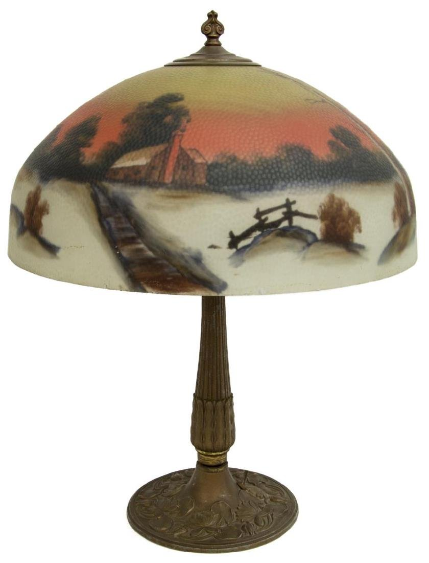 REVERSE PAINTED WINTER LANDSCAPE 2 LT TABLE LAMP - 3