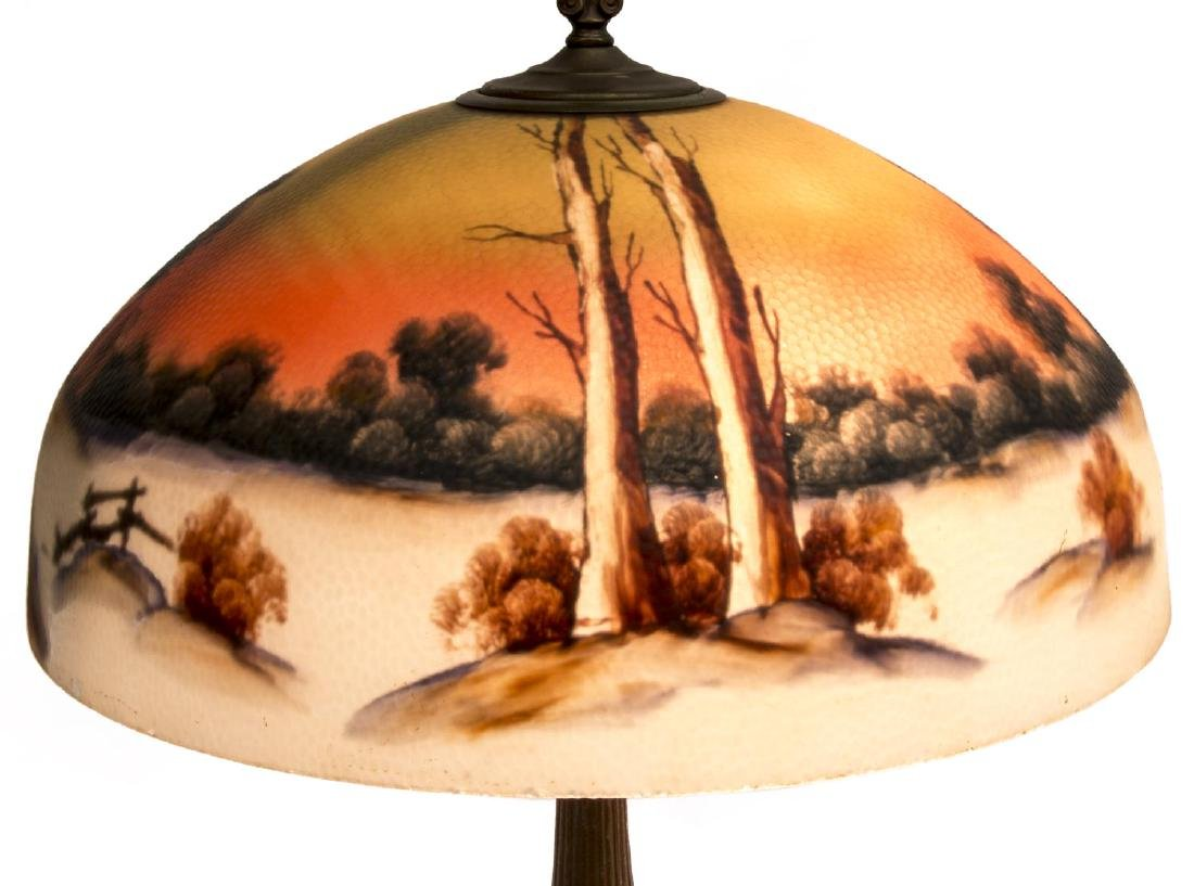 REVERSE PAINTED WINTER LANDSCAPE 2 LT TABLE LAMP - 4