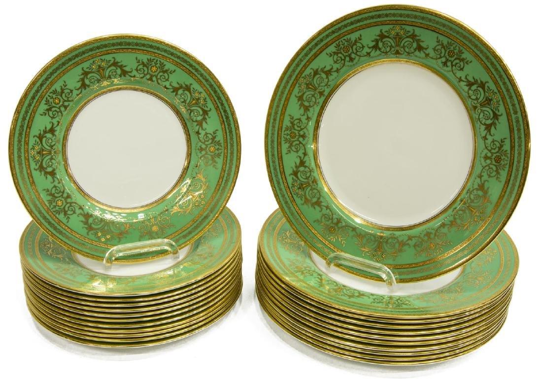 (23) MINTON PORCELAIN GREEN RAISED GILT PLATES