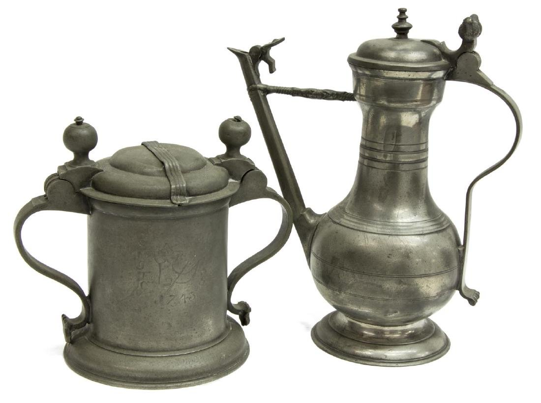 2) 18TH & 19TH C. PEWTER DRINKWARE, (1) DATED 1743