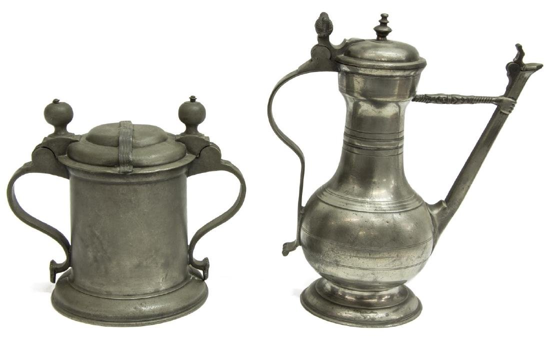 2) 18TH & 19TH C. PEWTER DRINKWARE, (1) DATED 1743 - 2